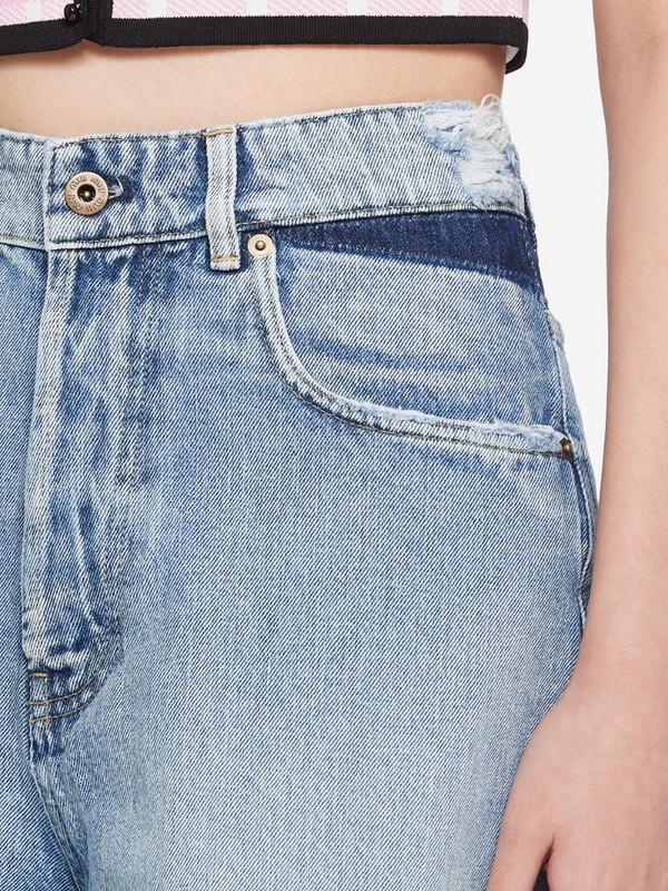 Miu Miu high-rise denim shorts in blue
