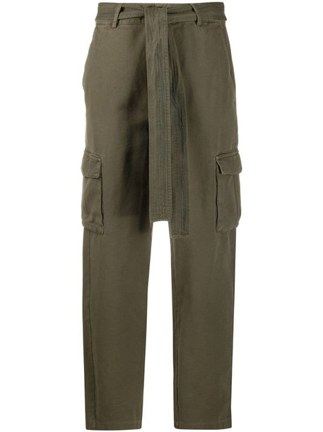 ANINE BING tie waist trousers in green