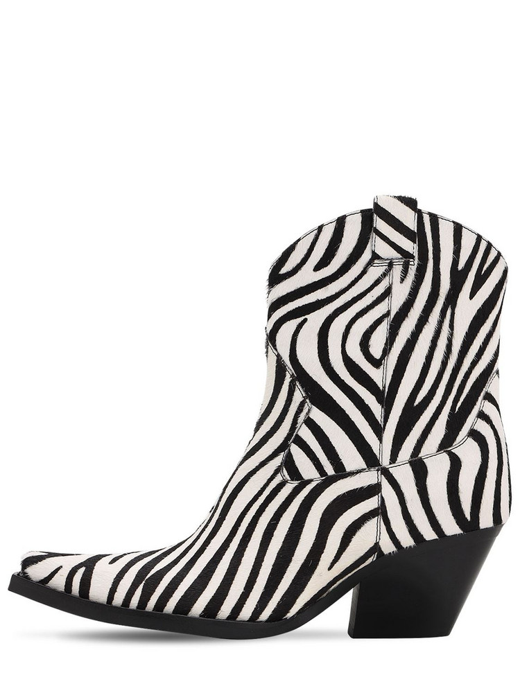 JEFFREY CAMPBELL 70mm Ponyskin Leather Boots in black / white
