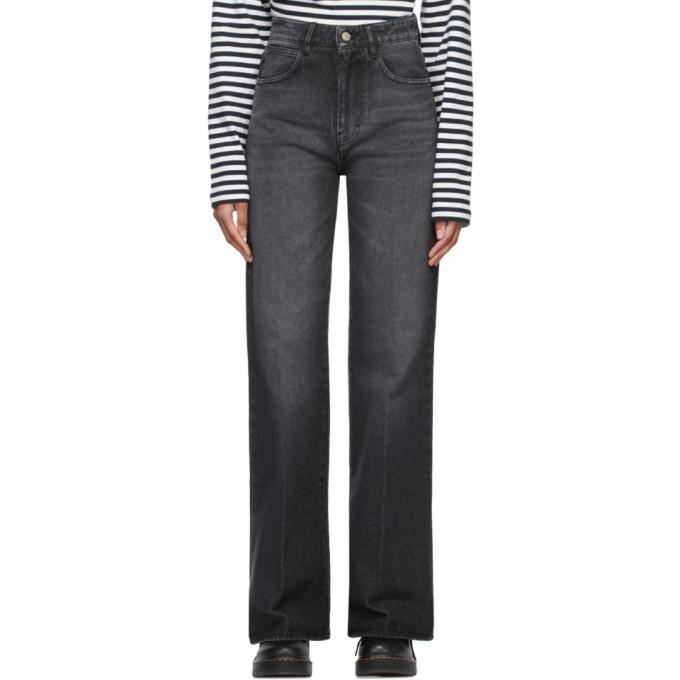 AMI Alexandre Mattiussi Grey Denim Flared Jeans in black