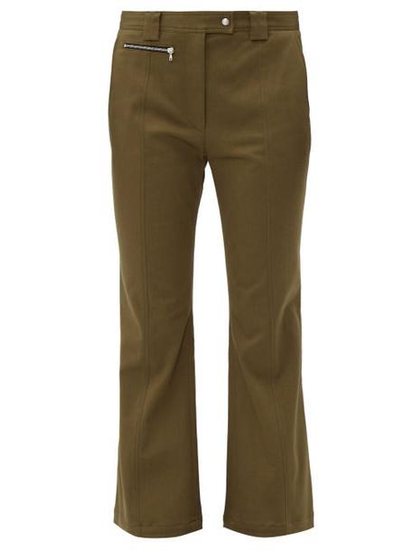 Proenza Schouler - Panelled Flared Cuff Cotton Twill Trousers - Womens - Dark Green