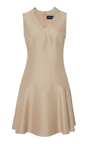 Brandon Maxwell V-Neck Mini Dress in neutral