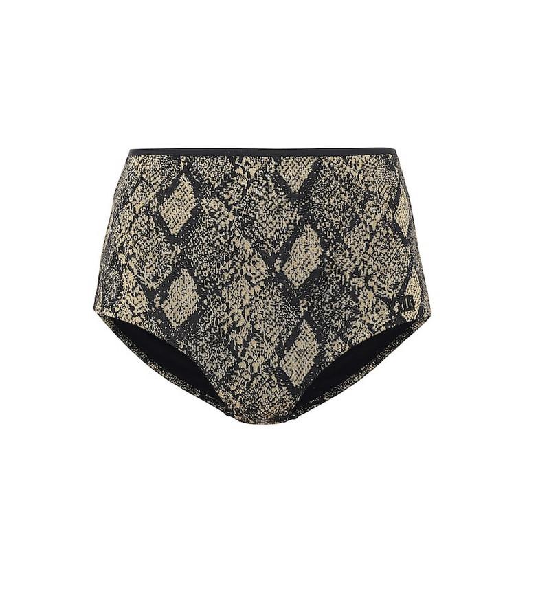 Solid & Striped The Brigitte snake-effect bikini bottoms in brown
