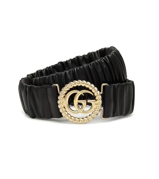 Gucci GG stretch-leather belt in black