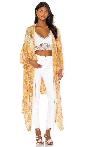 Free People Lost In Love Kimono Jacket in Yellow