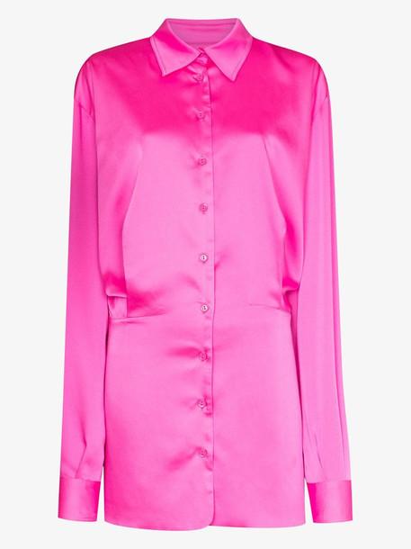 The Attico buttoned mini shirt dress in pink