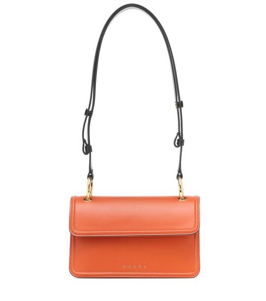 Marni Beat leather shoulder bag in orange