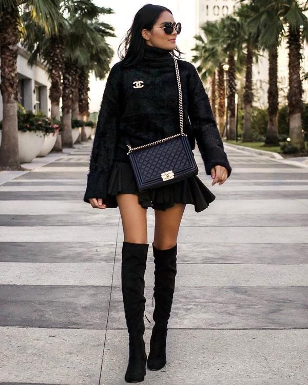skirt mini skirt black skirt over the knee boots black bag turtleneck sweater