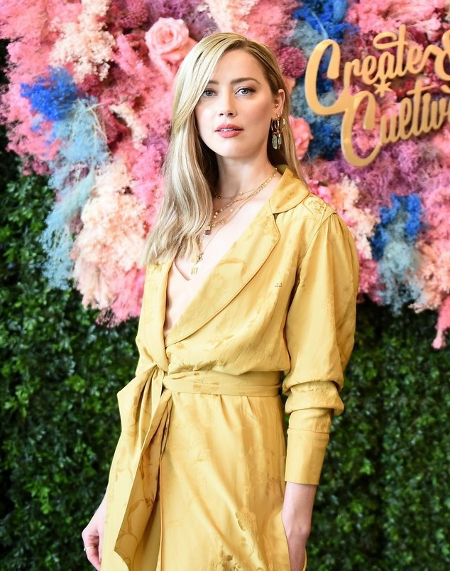 coat amber heard celebrity kimono robe yellow yellow coat