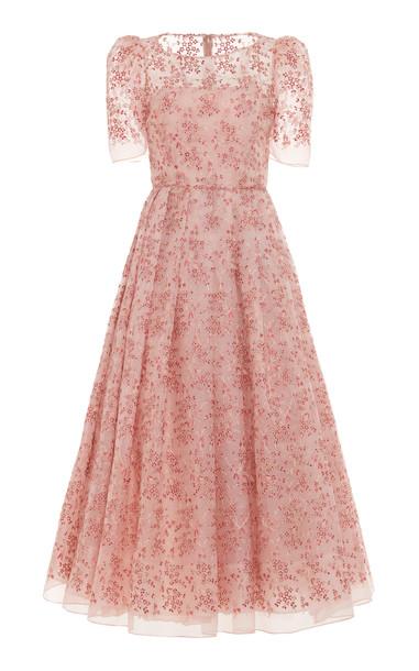 Luisa Beccaria Embroided Georgette Midi Dress Size: 36 in white