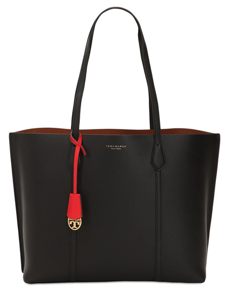 TORY BURCH Perry Multicolor Leather Tote Bag in black