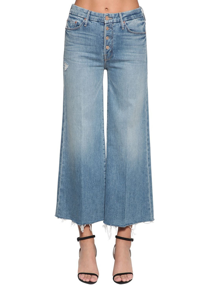 MOTHER The Pixie Roller Frayed Ankle Jeans in blue