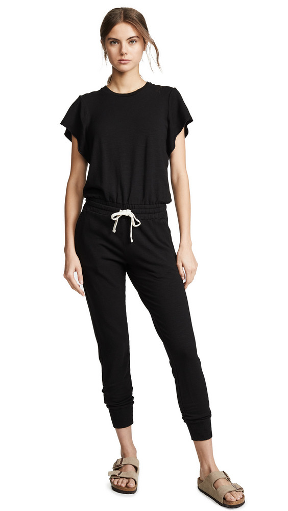 MONROW Supersoft Cap Sleeve Jumpsuit in black