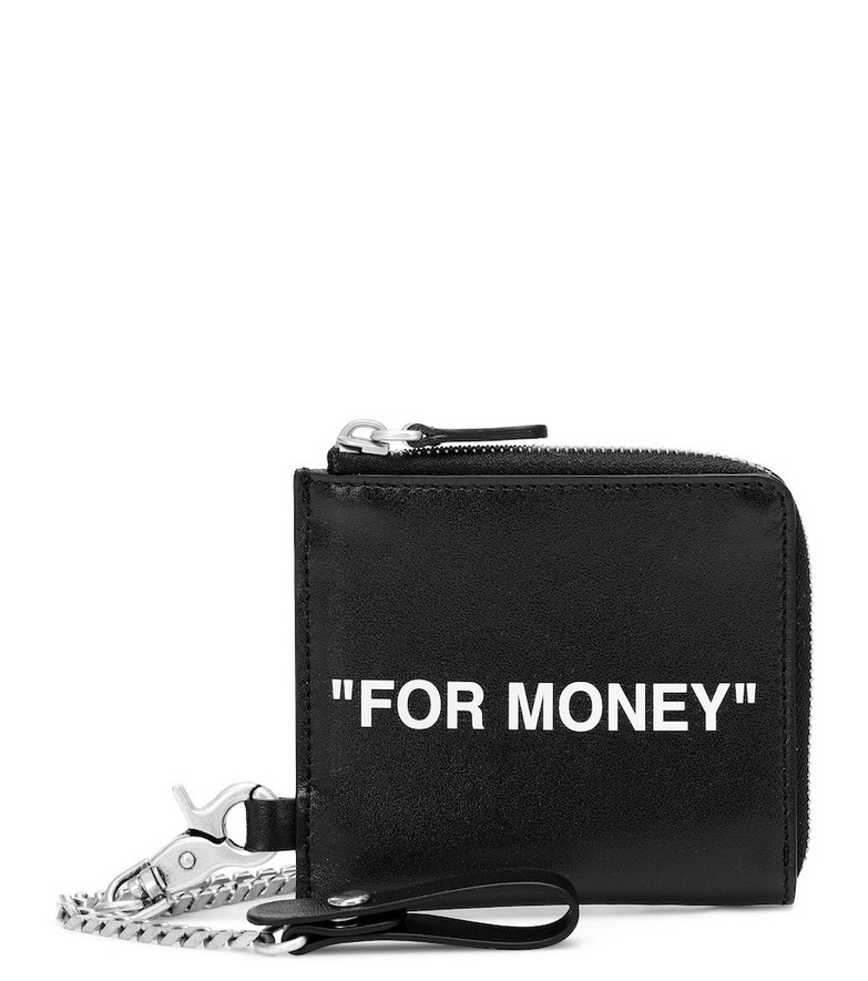 Off-White Leather coin pouch in black