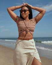 sunglasses,top,belt,skirt