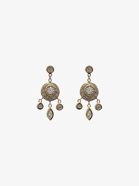 Jacquie Aiche 14K yellow gold dream catcher diamond drop earrings