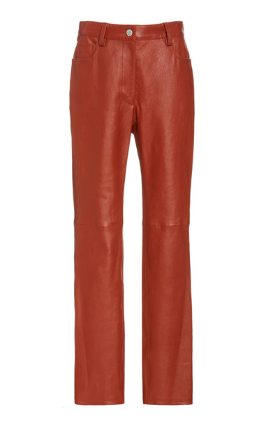Joseph Cindy Lambskin Leather Pants in red