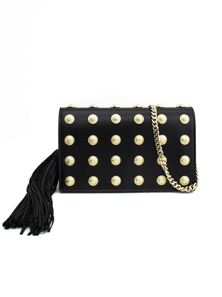 Balmain Clutch In Black Calf Leather Gold Logo Studded.