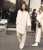 coat,wool coat,double breasted,max mara,pleated,wide-leg pants,blouse