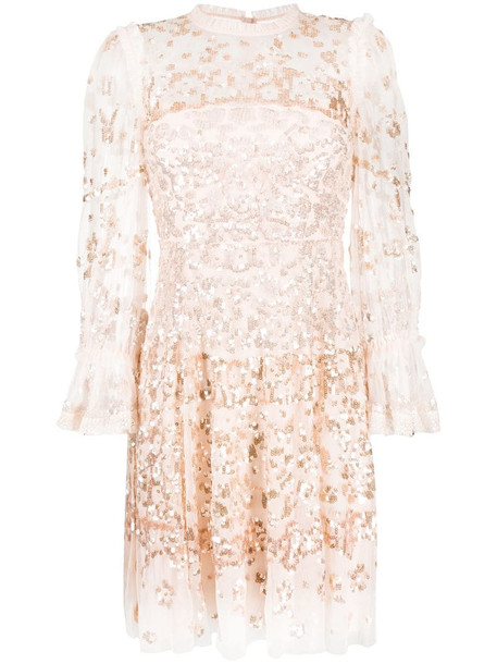 Needle & Thread sequin embroidered mini dress in pink