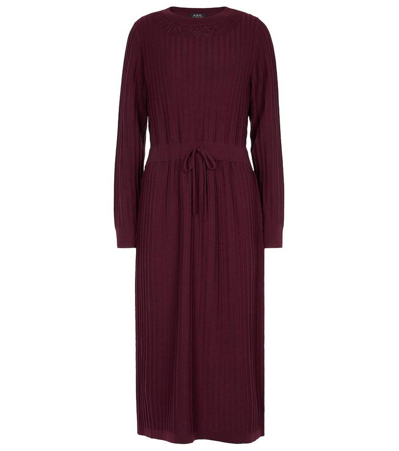 A.P.C. Fabienne wool sweater dress in red