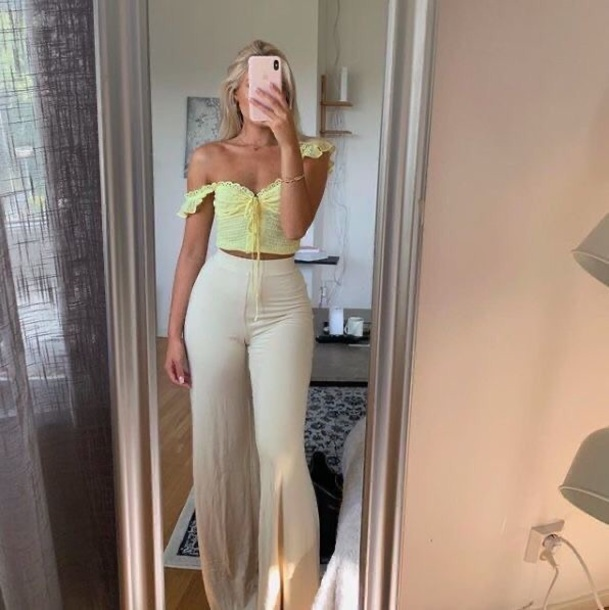 pants flare pants beige