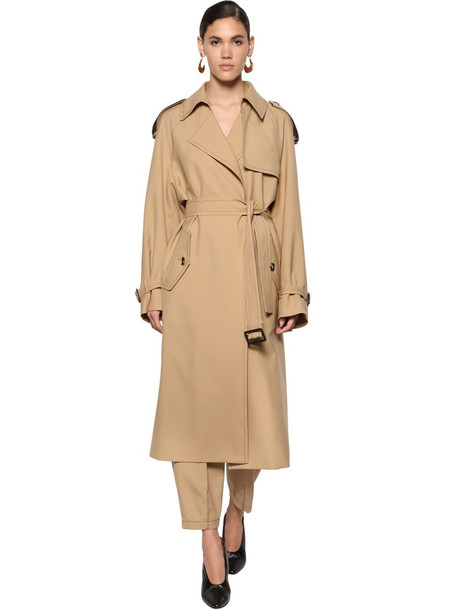 MARNI Fluid Wool Gabardine Trench Coat in beige