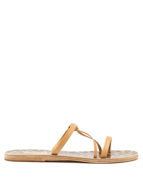 Ancient Greek Sandals - Spetses Leather Strap Sandals - Womens - Beige Multi