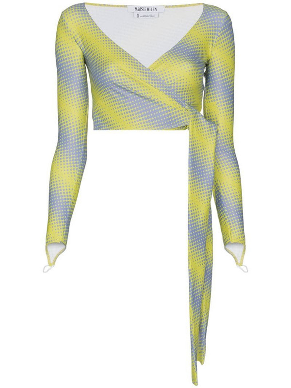 Maisie Wilen Capsule printed wrap top in yellow