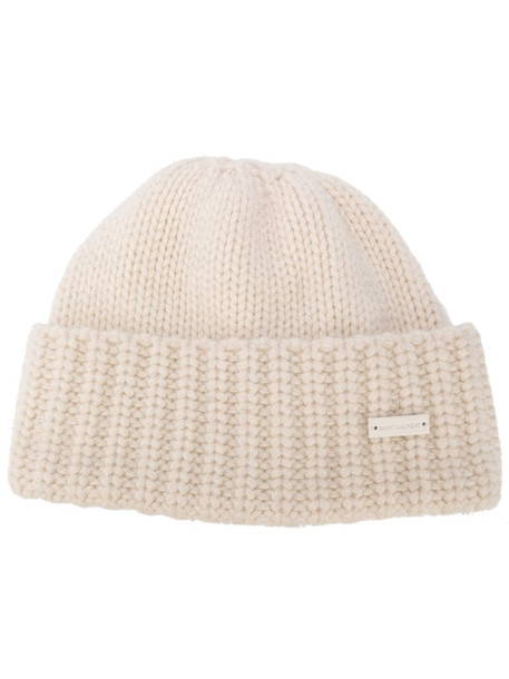 Saint Laurent cashmere knitted beanie in neutrals