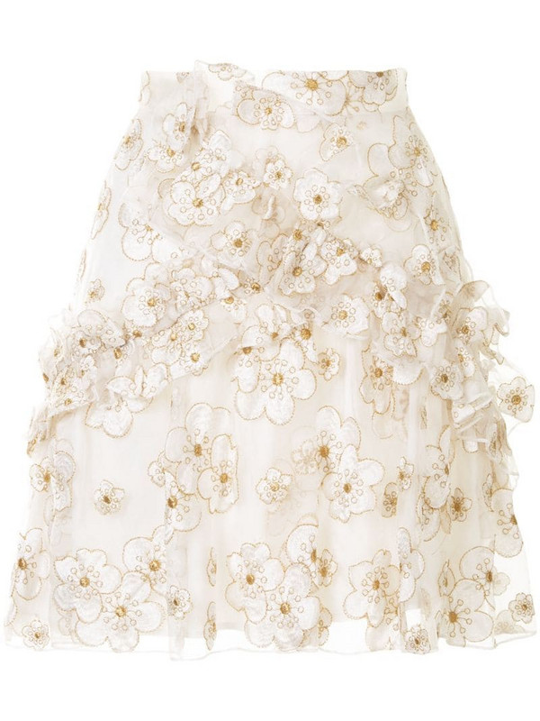 Macgraw Souffle embroidered organza mini skirt in white
