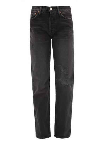 Re/done Originals - Loose Fit Straight Jeans - Womens - Dark Grey