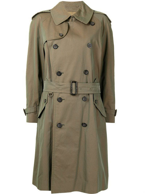 Burberry Pre-Owned iridescent knee-length trench coat in green