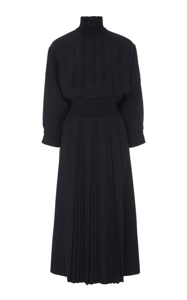 Prada Smocked Midi Dress in black