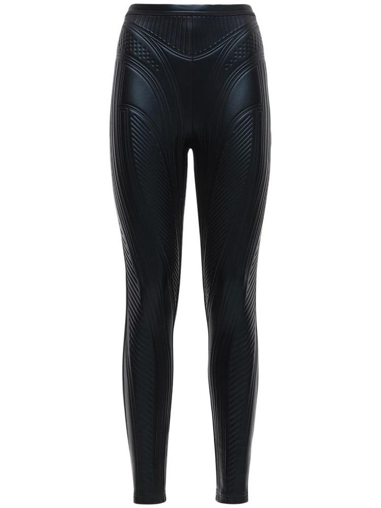 MUGLER Embossed Shiny Stretch Jersey Leggings in black