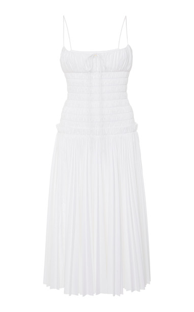 Khaite Delphine Smocked Pleated Cotton Dress Size: S in white
