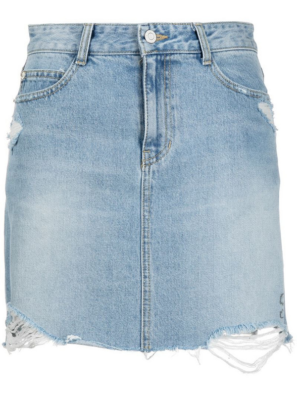 SJYP dino print denim skirt in blue