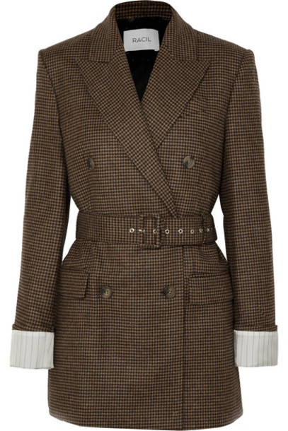 Racil - Farrah Belted Double-breasted Houndstooth Wool Blazer - Black