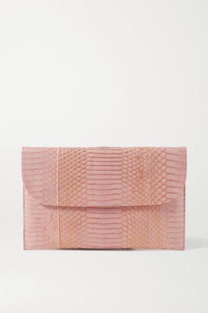 Nancy Gonzalez - Envelope Metallic Elaphe Clutch - Blush