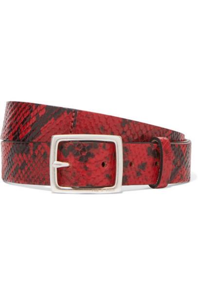 rag & bone - Boyfriend Snake-effect Leather Belt - Red