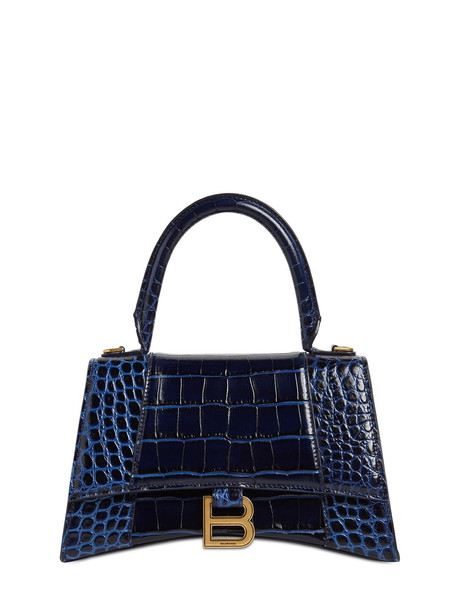 BALENCIAGA Sm Hourglass Printed Leather Bag in navy