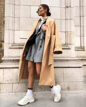 coat,camel coat,trench coat,white sneakers,socks,blazer,stripes,double breasted,black bag,white turtleneck top