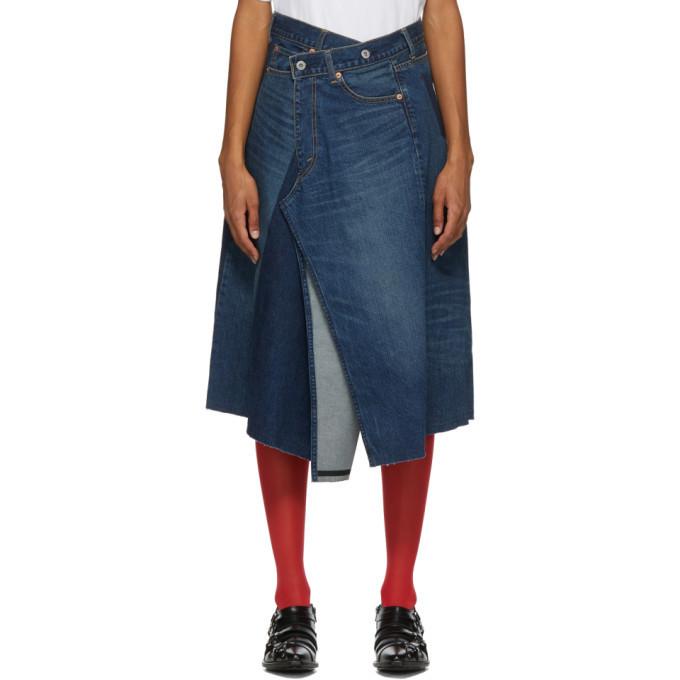 Junya Watanabe Blue Denim Asymmetric Skirt in indigo