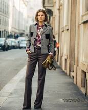 top,shirt,floral shirt,etro,high waisted pants,pleated,straight pants,pumps,plaid blazer,bag