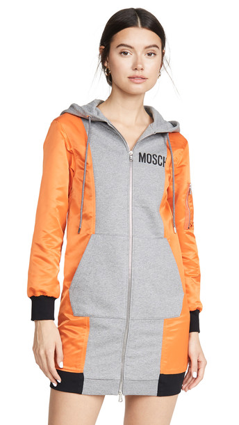 Moschino Colorblock Sweatshirt Dress in grey
