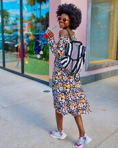 shoes,sneakers,adidas shoes,midi dress,floral dress,long sleeve dress,backpack