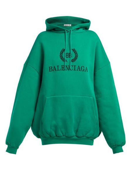 Balenciaga - Bb Logo Cotton Blend Hooded Sweatshirt - Womens - Green