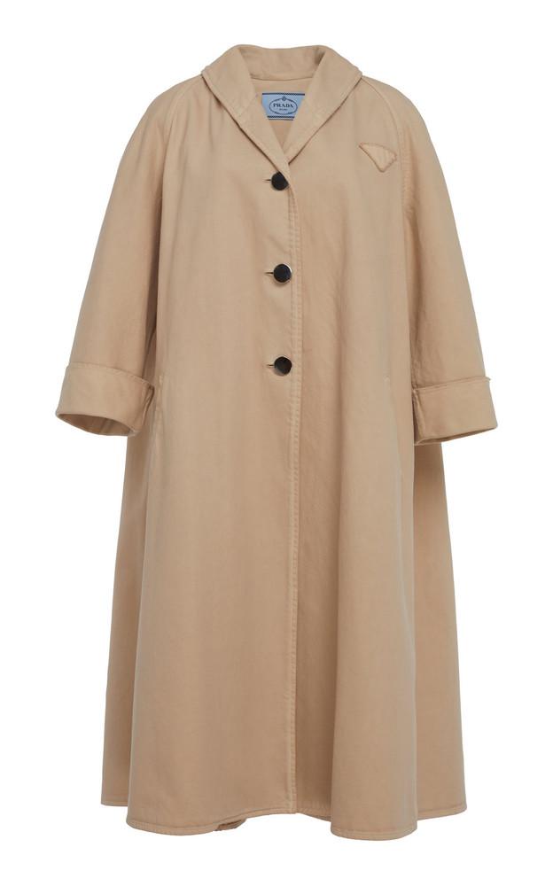 Prada Swing Cotton Overcoat in neutral