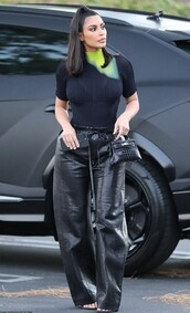 top,black,black top,kim kardashian,kardashians,pants,celebrity,leather,leather pants