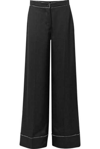 Burberry - Crystal-embellished Mulberry Silk-satin Wide-leg Pants - Black
